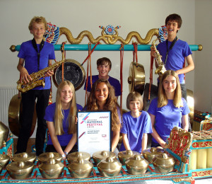 Members of Oxford Youth Gamelan with their Innovation award from MFY 2015